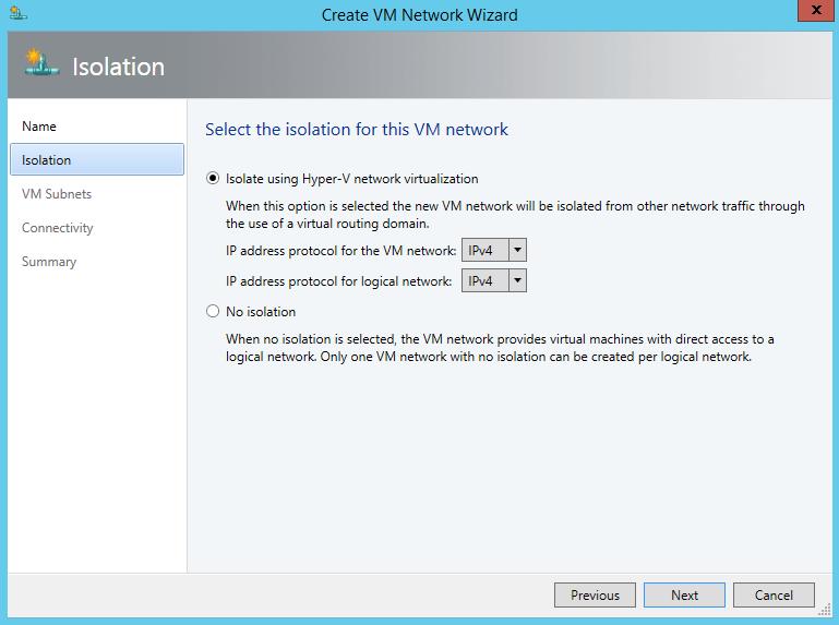 Настройка сети в System Center 2012 R2 Virtual Machine Manager