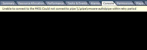 Ошибка: Unable to connect to the MKS: Could not connect to pipe .pipevmware-authdpipe within retry period.
